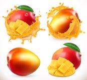 Jus de mangue Fruit frais, icône du vecteur 3d illustration de vecteur