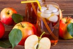 Jus de pomme organique frais de ferme avec de la glace en verre avec les pommes rouges entières et coupées en tranches crues Photographie stock