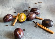 Jus de prune avec de la glace, la cannelle et des clous de girofle Excellent et chaud pendant des soirées froides d'automne Images libres de droits