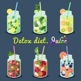 Jus de régime de Detox avec l'illustration de vecteur de fruits Photos stock