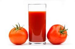 Jus de tomates d'isolement sur le blanc sur le blanc Photo libre de droits