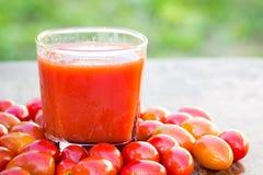 Jus de tomates et tomate fraîche Photo stock
