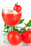 Jus de tomates frais Photographie stock
