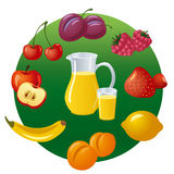 Jus et fruits Photo stock