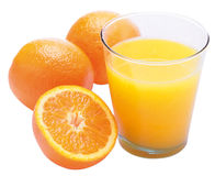 Jus et oranges d'orange Photos libres de droits