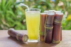 Jus frais de canne à sucre pour un régime de detox - fruits organiques sur le woode Photographie stock libre de droits