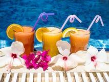 Jus naturel fraîchement serré au bord de la piscine à la station de vacances Photo libre de droits