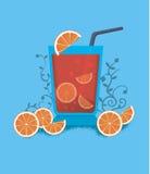 Jus orange rouge de cocktail avec des bulles Image libre de droits