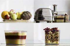 Jus organique frais montrant les couches des fruits et légumes et de la pulpe de surplus Photo libre de droits