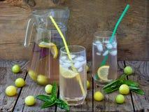 Jus ou compote fraîche avec des glaçons et une tranche de citron avec une prune et un basilic jaunes image libre de droits