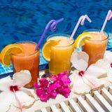 Jus serré frais naturel avec des morceaux de fruit dans la station de vacances par la piscine Photo libre de droits