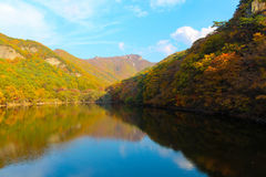 Jusanji水库-与五颜六色的森林的山秋天风景在周王山国立公园,韩国 库存照片