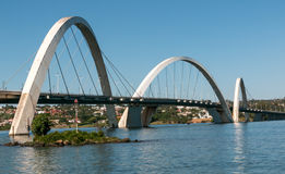 The Juscelin Kubitschek Bridge. The Beautiful Juscelin Kubitschek Bridge as seen during the day in Brasilia, Brazil aka the JK Bridge and Ponte JK Stock Image