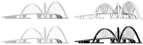 Juscelino Kubitschek Bridge skyline colored and outline only vector illustration