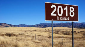 2018 Just Ahead brown road sign Stock Images