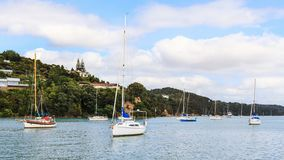 Opua, a scenic boat anchorage in the Bay of Islands, New Zealand stock photography