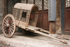 Just arrived!. This chair was in front of an old house at the small village of Pingyao in China. Nobles of an old dynasty were used to be transported by this way Royalty Free Stock Photos