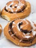 Just baked cinnamon and raisin rolls. Royalty Free Stock Photos