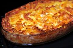Just baked lasagna Stock Photography