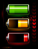 Just batteries. On dark high technology background Stock Photo