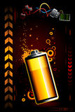 Just battery. On dark high technology background Royalty Free Stock Photography