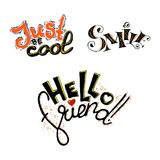 Just be cool text. Vector black lettering isolated on white background. Stock Images