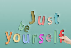 Just be yourself. Concept text on paper royalty free stock images