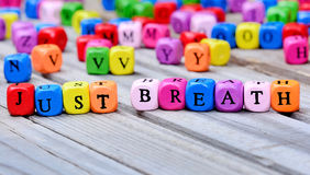 Just breath words on table Royalty Free Stock Images