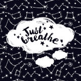 `just breathe` poster, starry background. Vector illustration Royalty Free Stock Image