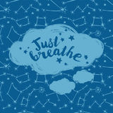 `just breathe` poster, starry background. Vector illustration Stock Image