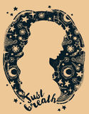 `just breathe` poster. Woman`s silhouette on starry background, vector illustration Stock Images