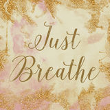 Just Breathe. Vintage background texture that reads Just Breathe in pink, cream and gold Royalty Free Stock Image
