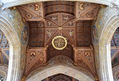 Just Cathedral ceiling. A unique ceiling in the cathedral in Armagh. Hand made and richly decorated wood ceiling in Roman Catholic St. Partick`s Cathedral in Stock Images