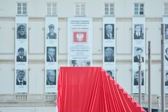 Just before  the ceremony of unveiling the monument the victims of a plane crash near Smolensk. Warsaw,Poland. 10 April 2018. Just before the ceremony of Royalty Free Stock Images