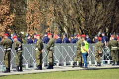 Just before  the ceremony of unveiling the monument the victims of a plane crash near Smolensk. Warsaw,Poland. 10 April 2018.  Just before  the ceremony of Royalty Free Stock Photos