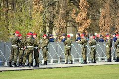 Just before  the ceremony of unveiling the monument the victims of a plane crash near Smolensk. Warsaw,Poland. 10 April 2018.  Just before  the ceremony of Stock Photos