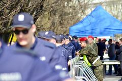 Just before  the ceremony of unveiling the monument the victims of a plane crash near Smolensk. Warsaw,Poland. 10 April 2018. Just before the ceremony of Royalty Free Stock Image