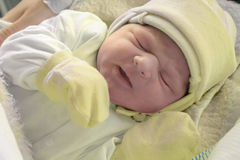 Just after childbirth. After childbirth, newborn baby in hospital royalty free stock photography