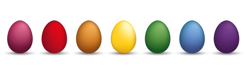 8 Just Colored Easter Eggs Header. 8 colored easter eggs on the white Stock Photos