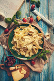 Just cooked Pappardelle italian cuisine dish with timatoes and c Stock Photography