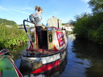 Narrowboat on canal Stock Images