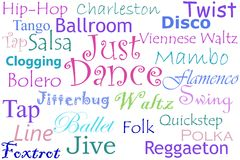 Just Dance Collage. The words 'just dance' in the middle of words of different dances in colorful fonts Royalty Free Stock Photo