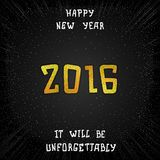 Just date 2016. Just Happy New Year 2016. Golden lettering design Stock Photo