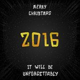 Just date 2016. Just Merry Christmas 2016. Golden lettering design Royalty Free Stock Images