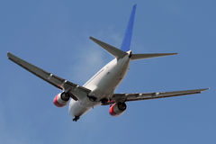 Just departed Rwy. Climbing into the sky after take off Stock Photography