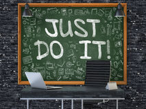 Just Do it on Chalkboard in the Office. 3D. Stock Photo