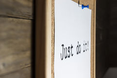 Just do it!. Pinned on cork board Stock Photo