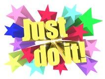 Just Do It slogan. Golden text with vivid stars Stock Photos