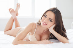 Just doing nothing at Sunday morning. Attractive young women in Royalty Free Stock Photos