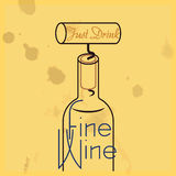 Just Drink Fine Wine - quote, white wine. Minimalist illustration for inspirational quote regarding wine consumption, an extractor inserted in a cork from a wine Stock Images